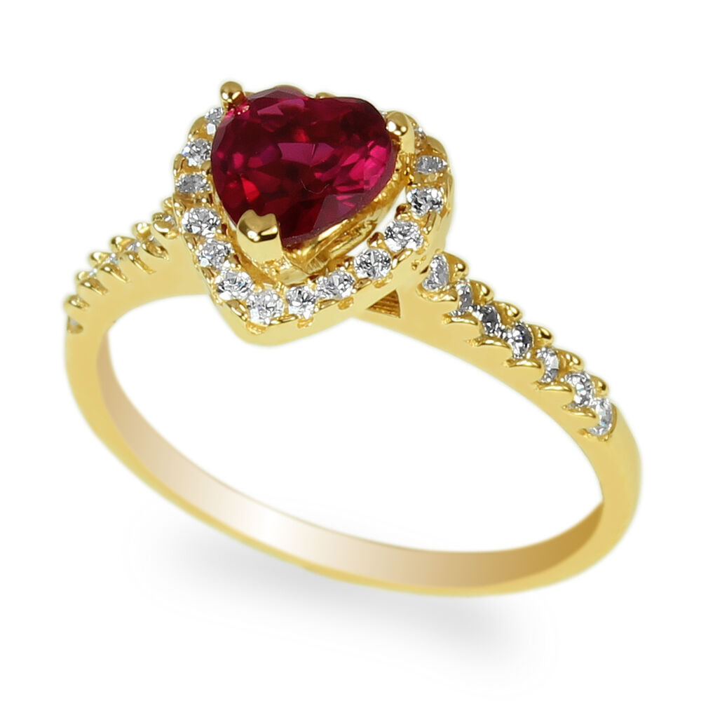 Ring Heart Shaped Ruby