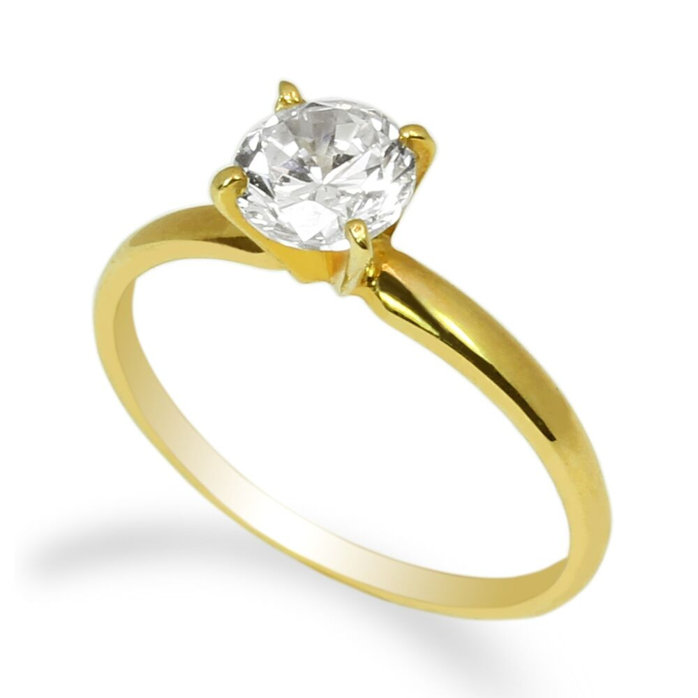 ladies 10k yellow gold solid solitaire ring round 0 8ct cz center clear ebay. Black Bedroom Furniture Sets. Home Design Ideas