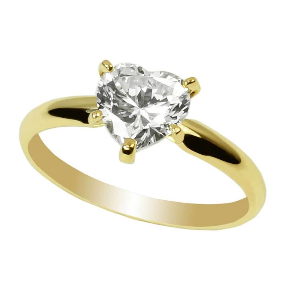 Ladies 10K Yellow Gold Solid Solitaire Ring Heart CZ 1.2ct ...