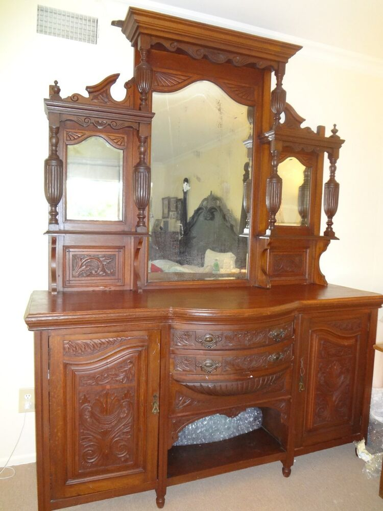 gorgeous majestic antique victorian buffet hutch side. Black Bedroom Furniture Sets. Home Design Ideas