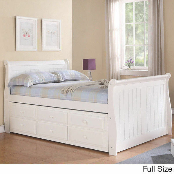 sleigh captain 39 s twin or full bed with trundle and storage ebay. Black Bedroom Furniture Sets. Home Design Ideas
