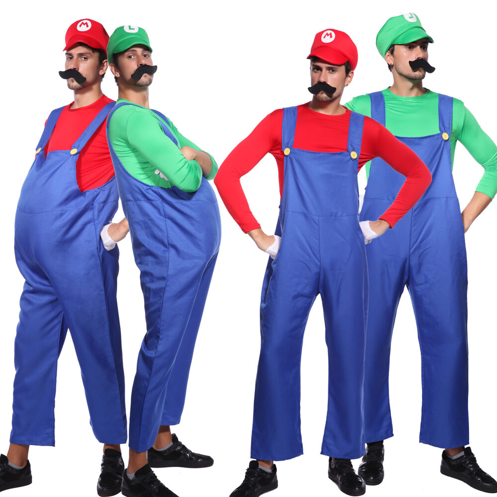 80er jahre video game super mario bros mario luigi herren kost m karneval ebay. Black Bedroom Furniture Sets. Home Design Ideas