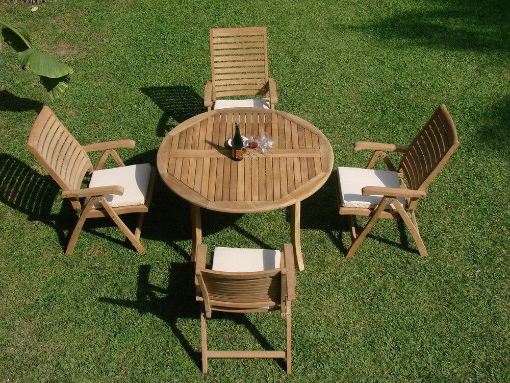 "Ash 5-pc Outdoor Teak Dining Patio Set: 52"" Round Table, 4"