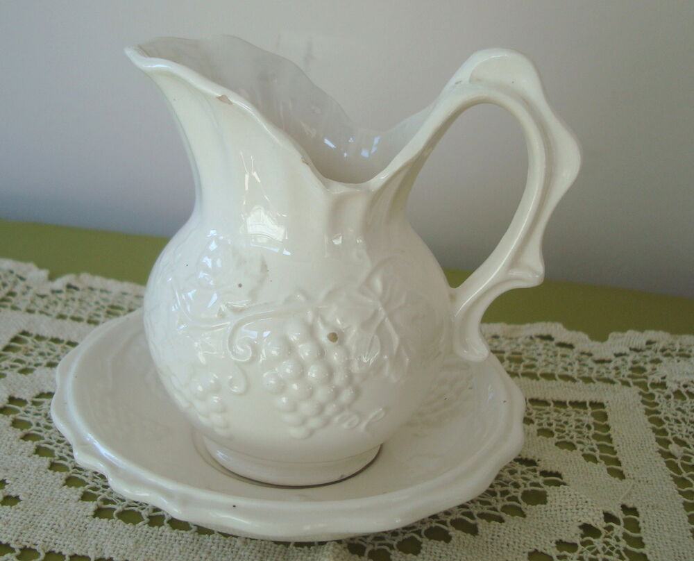 Details About Vintage Enesco An White Ceramic G Mini Pitcher Bowl Set 5 Tall