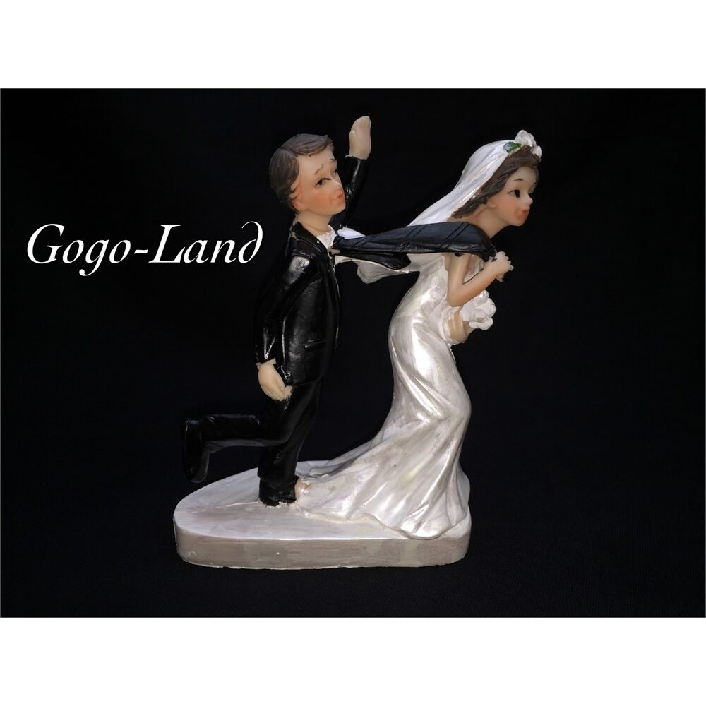 Funny Wedding Cake Toppers Groom And Bride Couple Figurine Cake Topper Humorous
