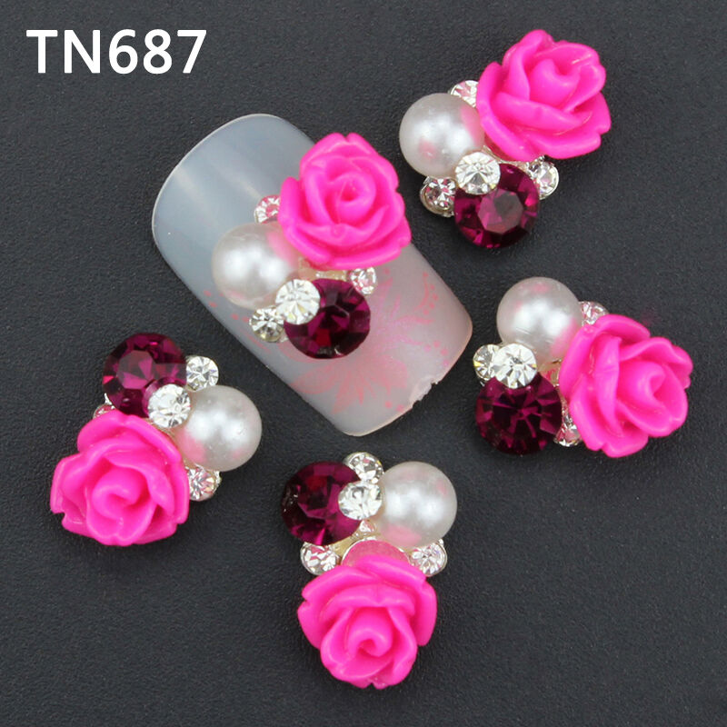 New 3d hotpink flower acrylic rhinestone diy nail art for 3d acrylic nail art decoration