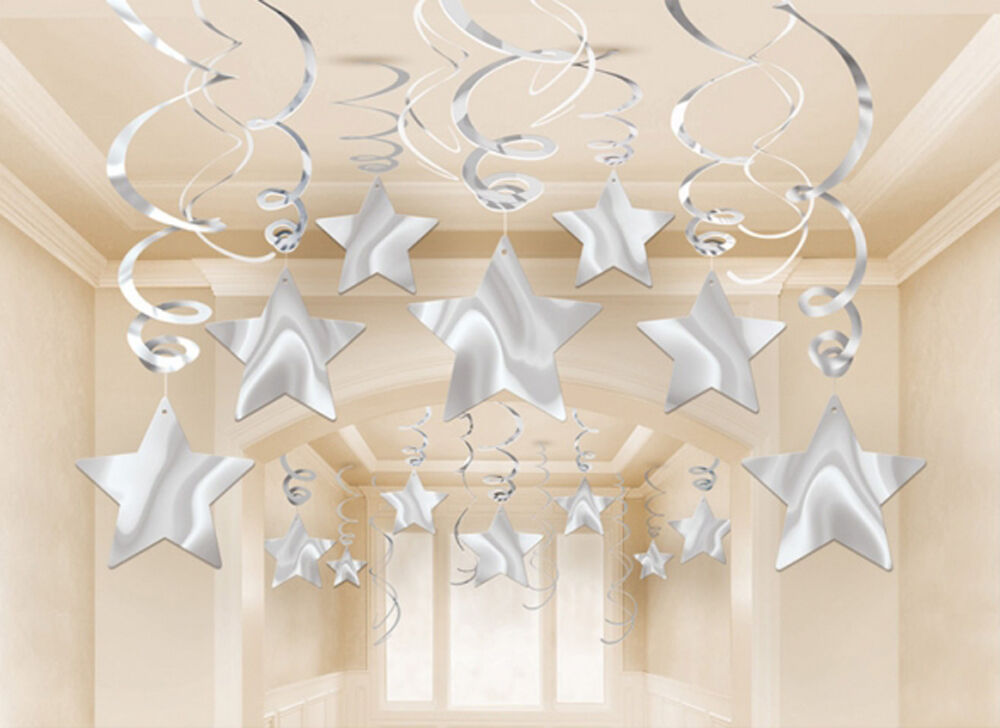 Silver shooting star decorations hanging swirls party