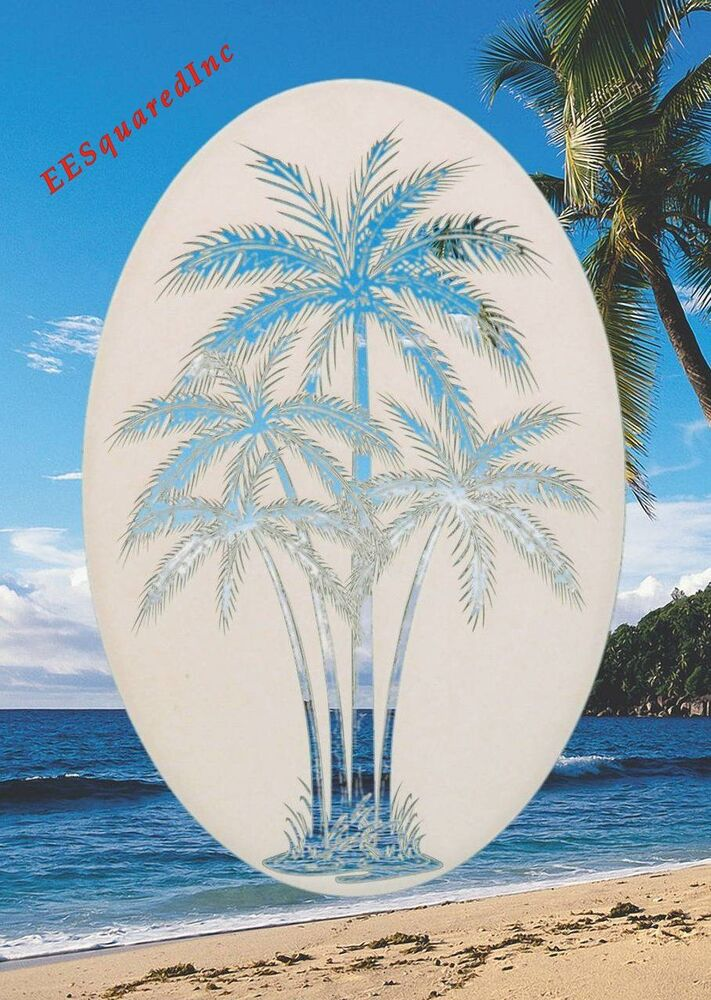 New white oval 26x41 palm trees window decal tropical