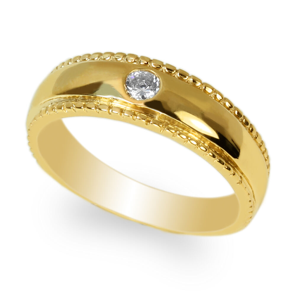 jamesjenny mens yellow gold plated cz wedding solid