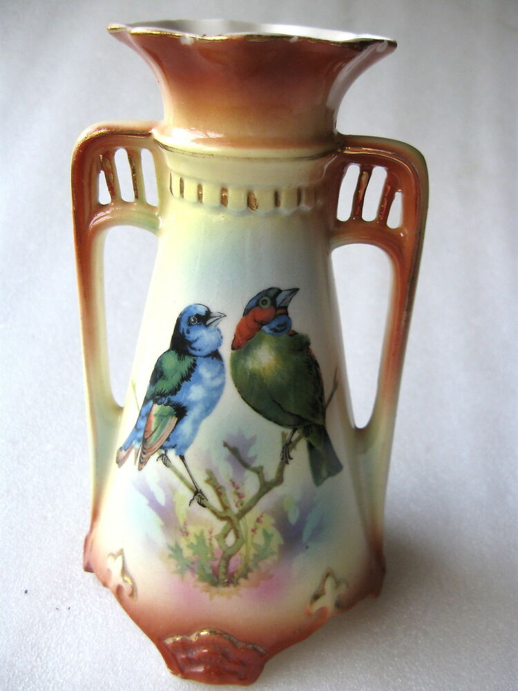 Vase Antique Austria H Painted Birds Double Handle Ebay