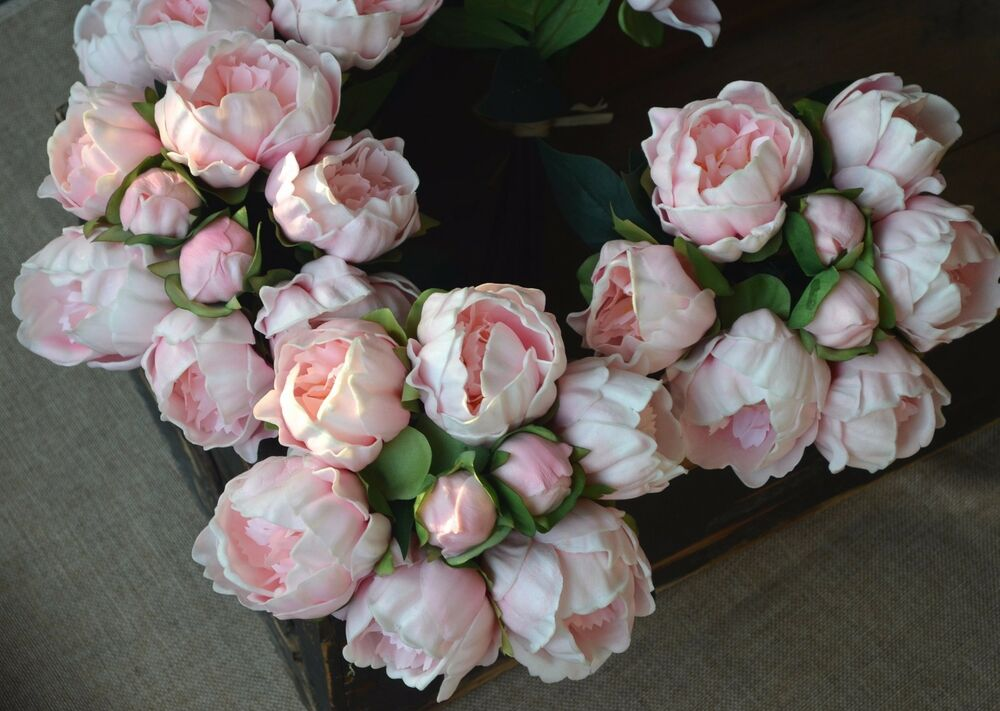 Bridal Real Flower Bouquets : Blush pink peony real touch flowers for silk bridal