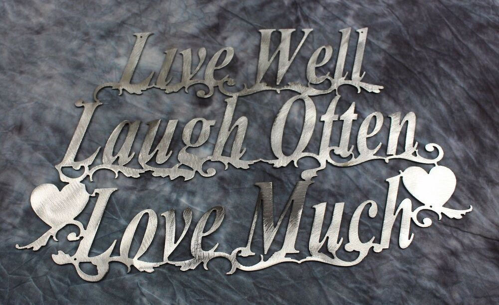 live well laugh often love much silver metal wall art accents ebay. Black Bedroom Furniture Sets. Home Design Ideas