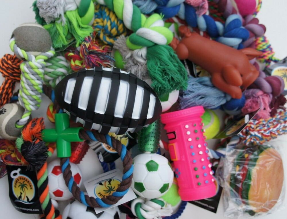 BULK ASSORTED PET DOG SQUEAKY CHEW ROPE BALL RUBBER LARGE