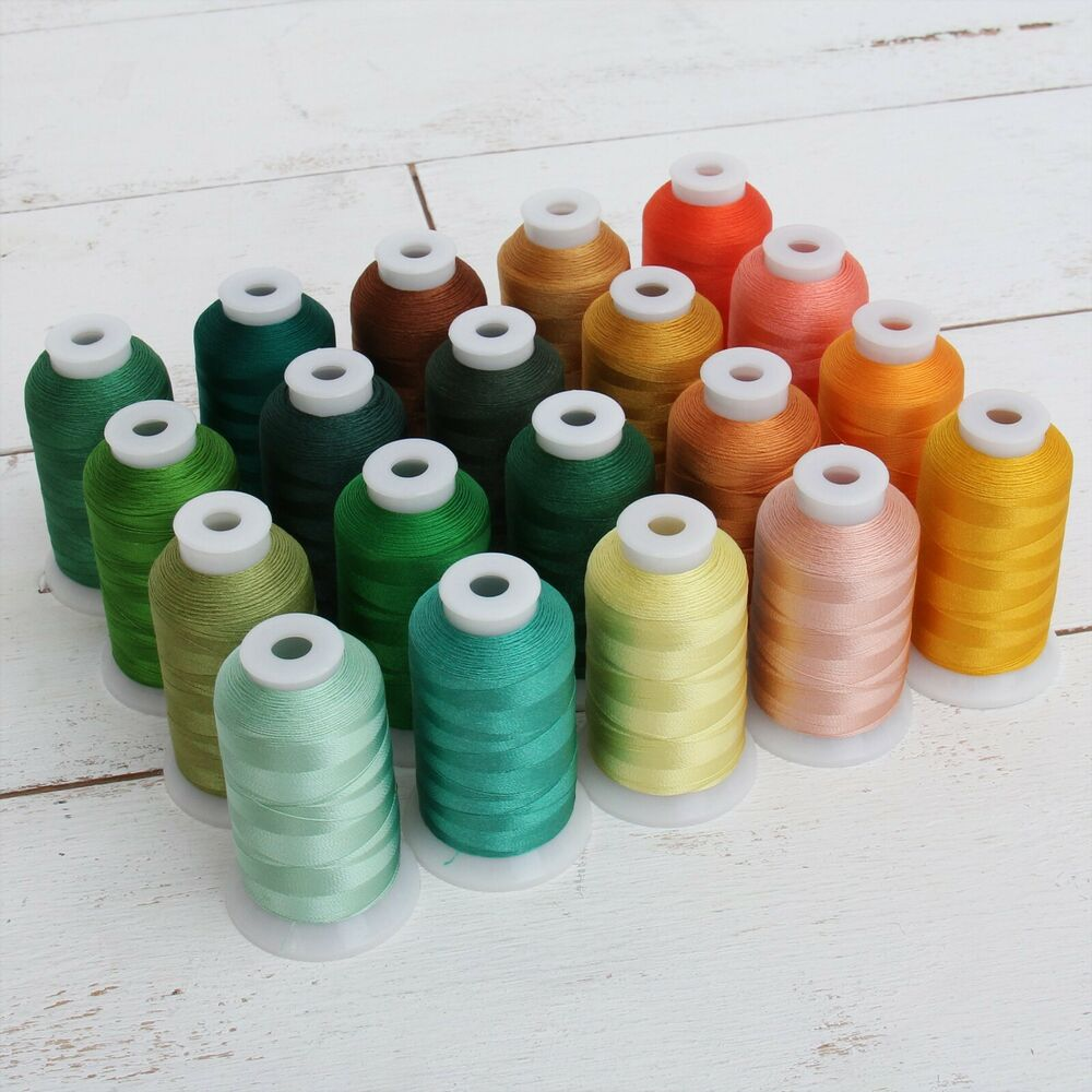 RAYON MACHINE EMBROIDERY THREAD SET 20 YELLOWGREEN COLORS