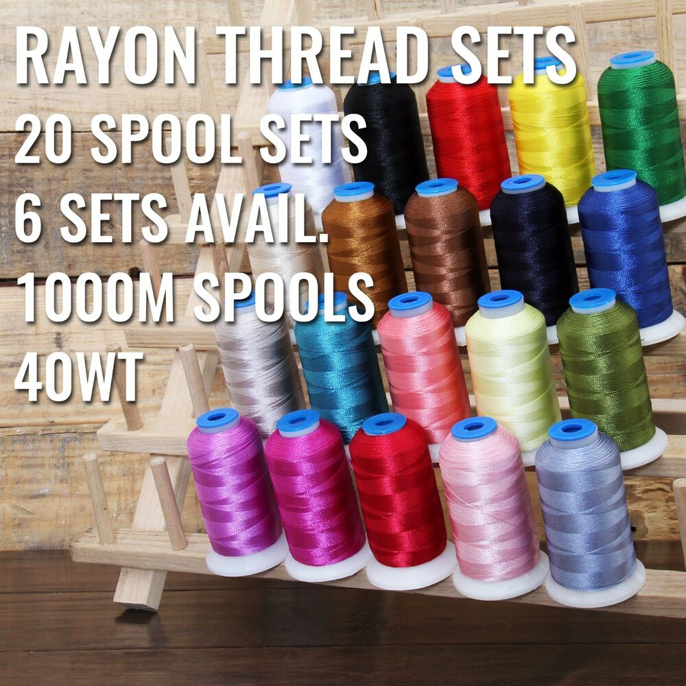 20 CONE RAYON MACHINE EMBROIDERY THREAD SETS  6 SETS