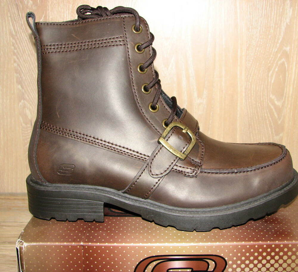 skechers biker boots motorcycle brown glenn cinder sizes leather