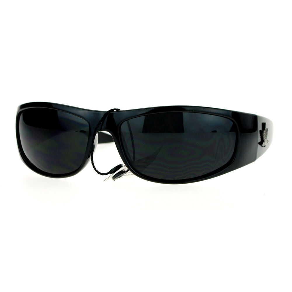 Super Dark Lens Black Sunglasses Mens Biker Wrap Oval ...