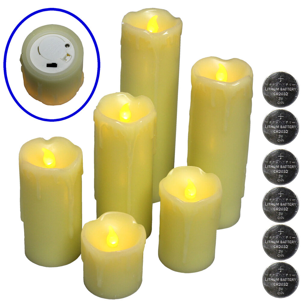 6 FLICKERING FLAMELESS LED PILLAR CANDLES Realistic Home