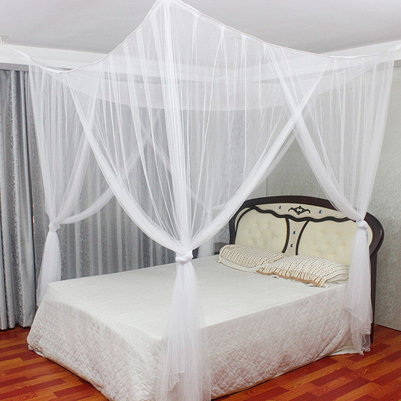 White 4 corner post bed canopy mosquito net full queen for Bed with mosquito net decoration