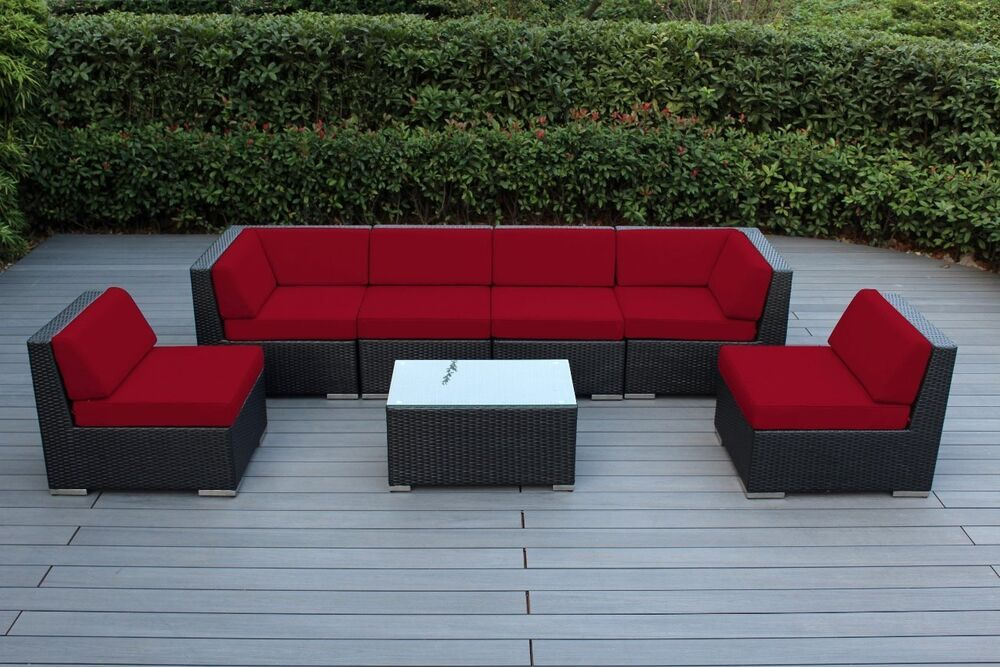 Outdoor patio wicker furniture 7pcs modern couch set Modern patio furniture setting