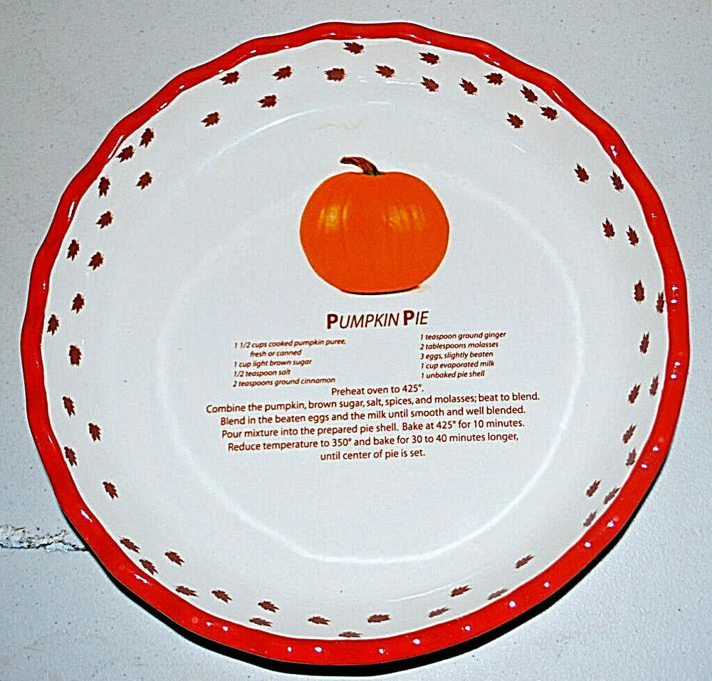 Ceramic Pumpkin Pie Recipe 10 Quot Baking Dish Pan Baker New