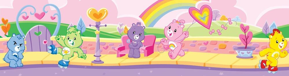 Care bears 12 39 wall border rainbow cheer wallpaper decals for Care bears wall mural