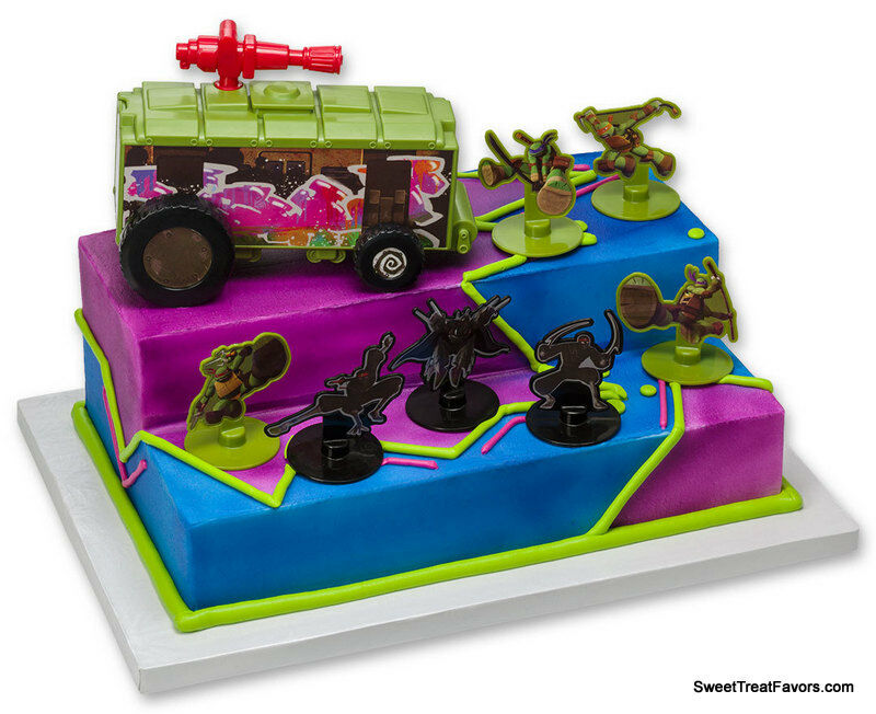 Kit Iniciacao Cake Design : Ninja Turtle Party cake Decoration Supplies TOPPER Kit ...