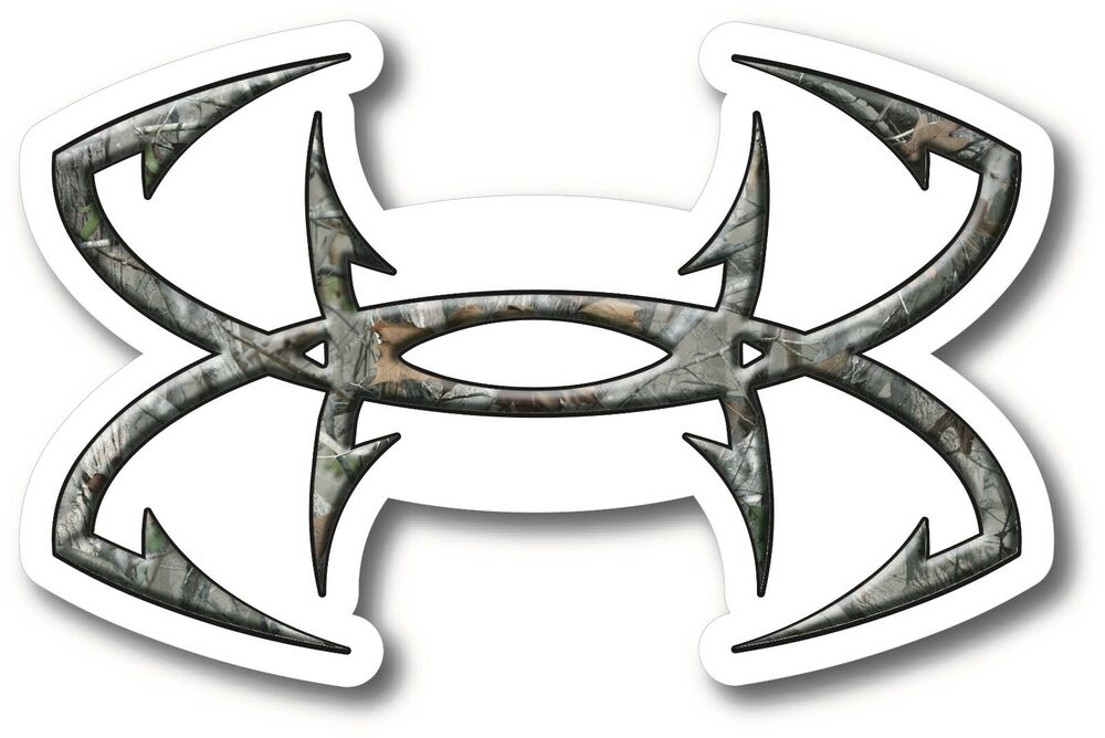 Fish hooks camo decal sticker fishing ebay for Under armour fishing