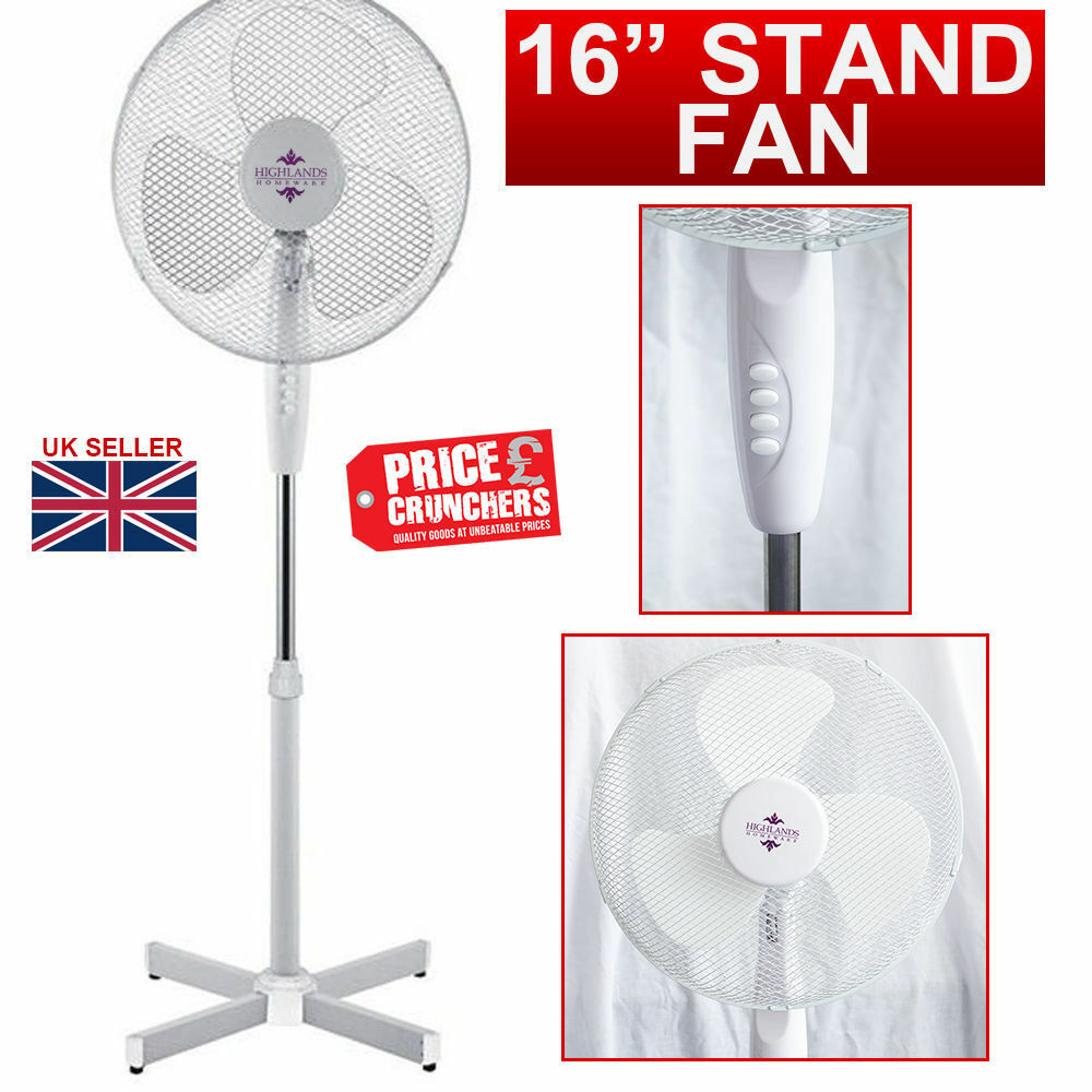 16 Quot Inch Oscillating Fan Extendable Free Standing Pedestal