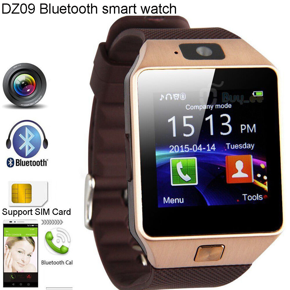 gold bluetooth smart watch phone gsm sim for android ios iphone samsung lg sony ebay. Black Bedroom Furniture Sets. Home Design Ideas