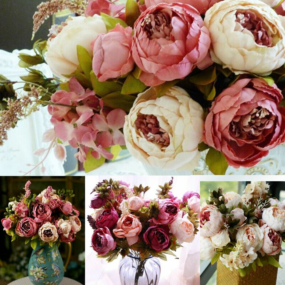 Wedding Bridal Artificial Peony Silk Flowers 1 Bouquet