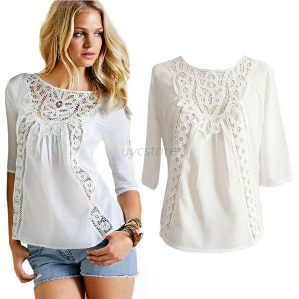 Cool Beautiful Lace Blouses 2015 Summer Women Short Sleeved Shirts Small