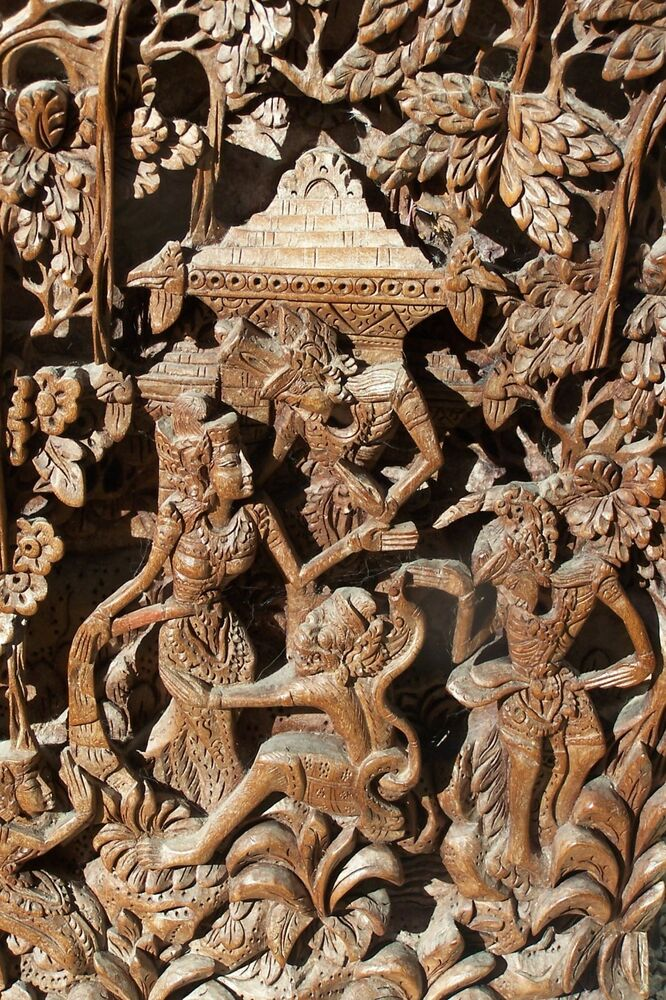 Bas relief d hand carved teak temple panel sculpture