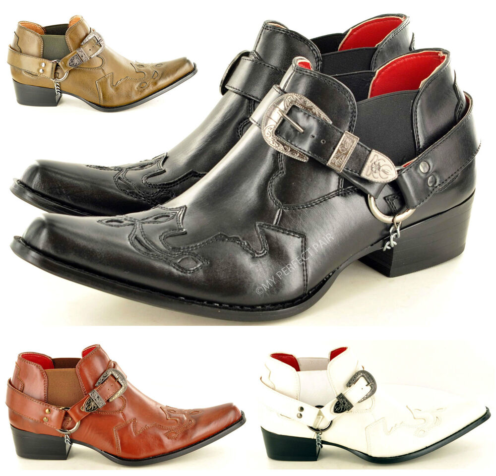 mens gents pointed toe slip on western cowboy ankle boots