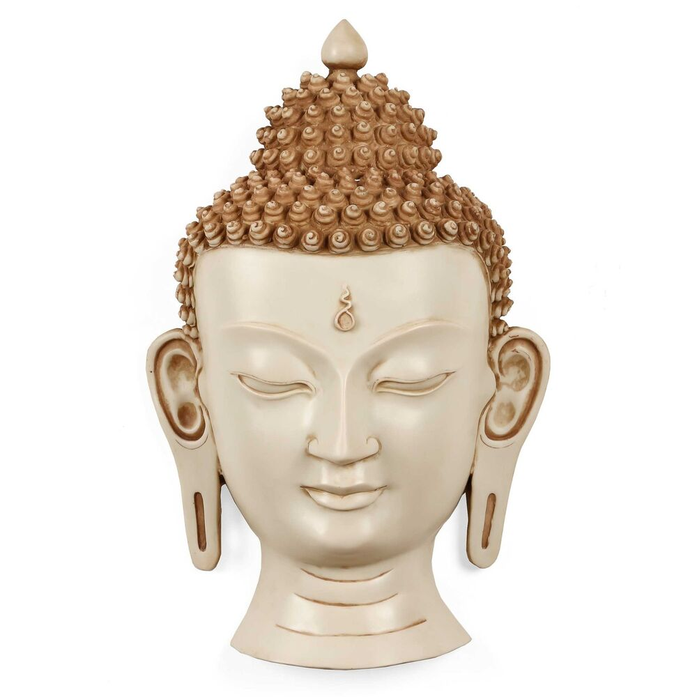 Buddha Wall Sculpture: 15 Inches White Buddha Wall Hanging Mask Sculpture