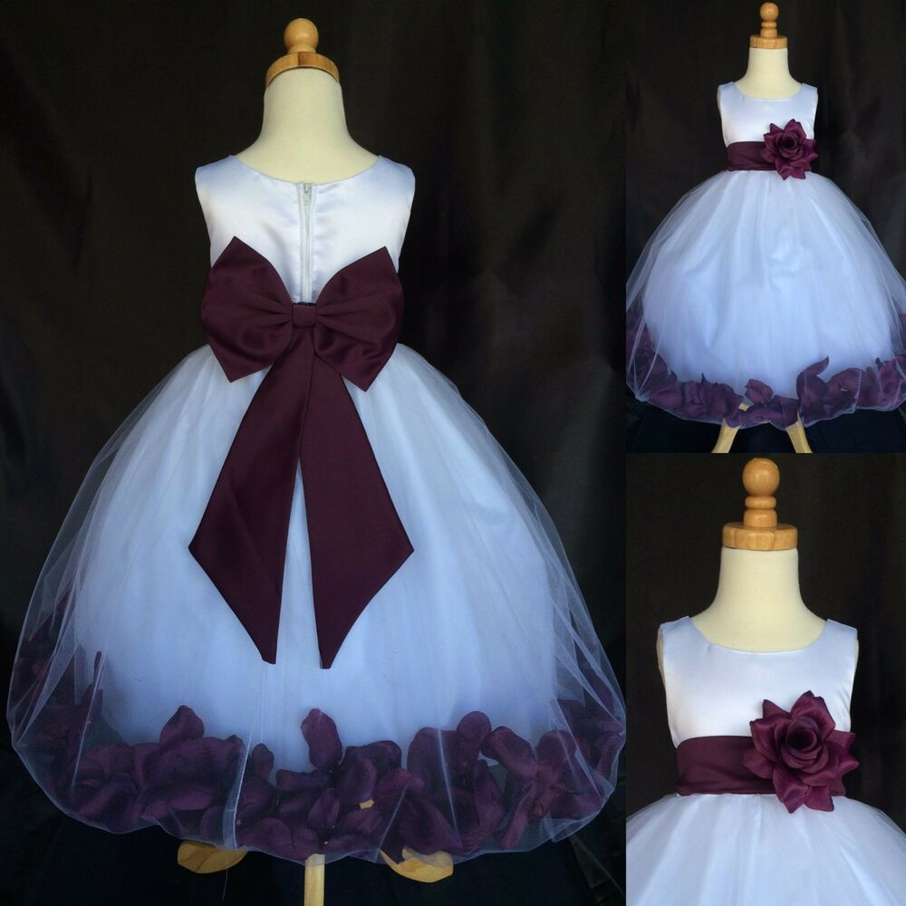 plum big bow rose petal dress fall holiday winter wedding flower girl tulle 24 ebay. Black Bedroom Furniture Sets. Home Design Ideas