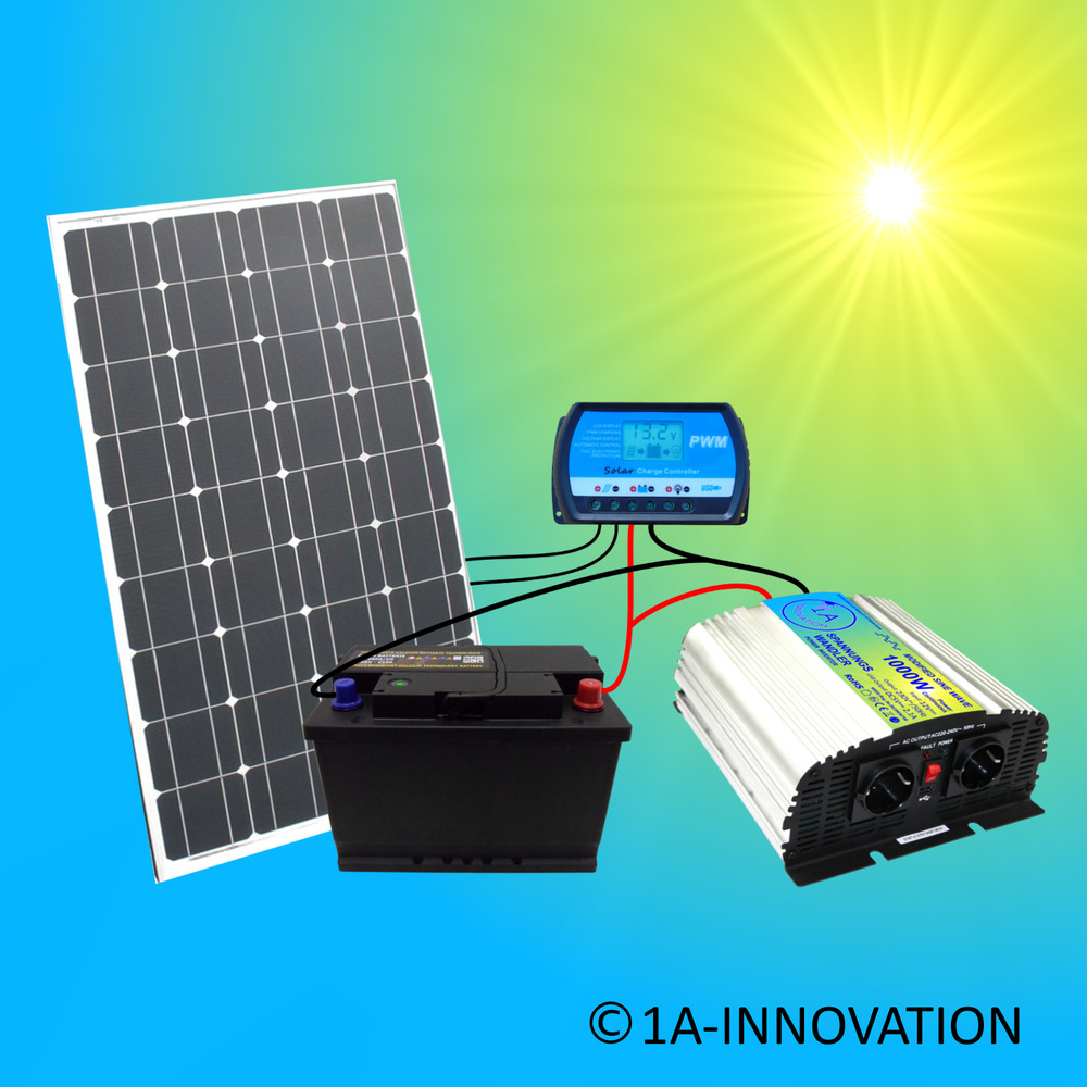 komplettpaket 220v solaranlage t v 100w solarmodul solarpanel gartenhaus garten ebay. Black Bedroom Furniture Sets. Home Design Ideas