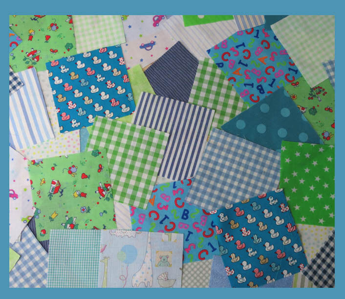 Nursery fabric patchwork squares 4 x 4 ins blue and green for Nursery fabric uk