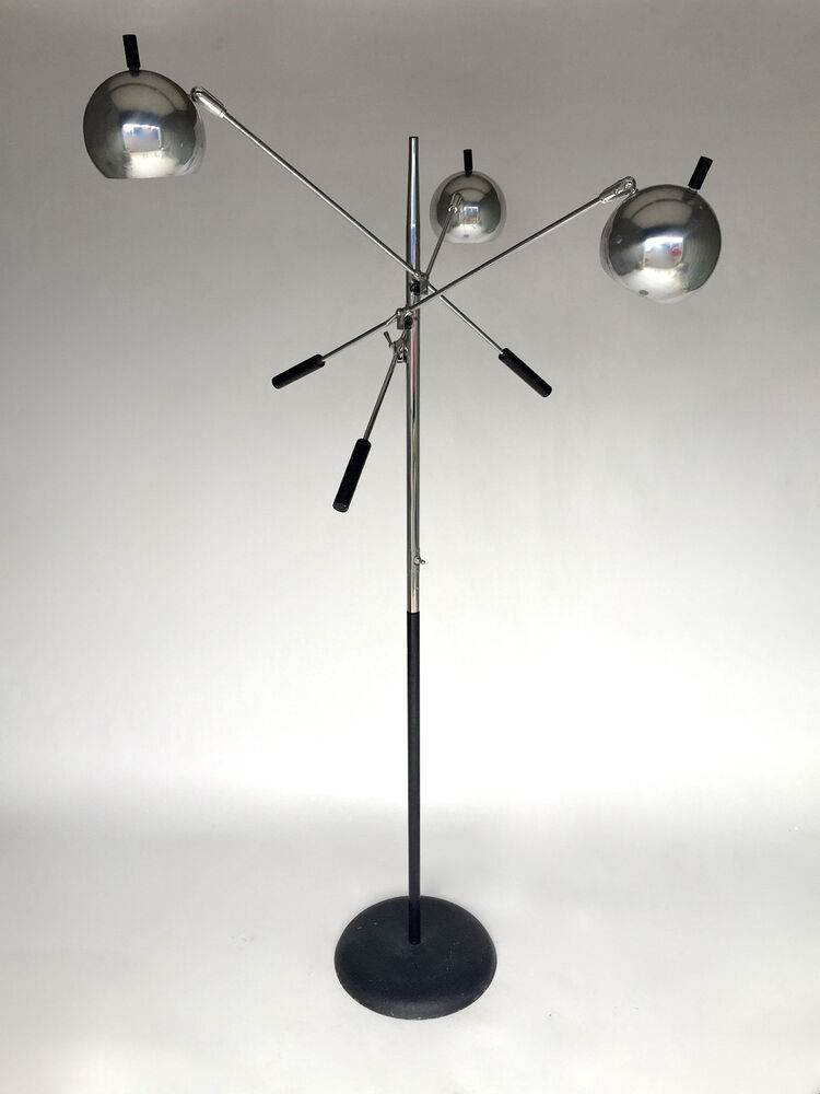 Vintage Mid Century 3 Arm Floor Chrome Ball Lamp
