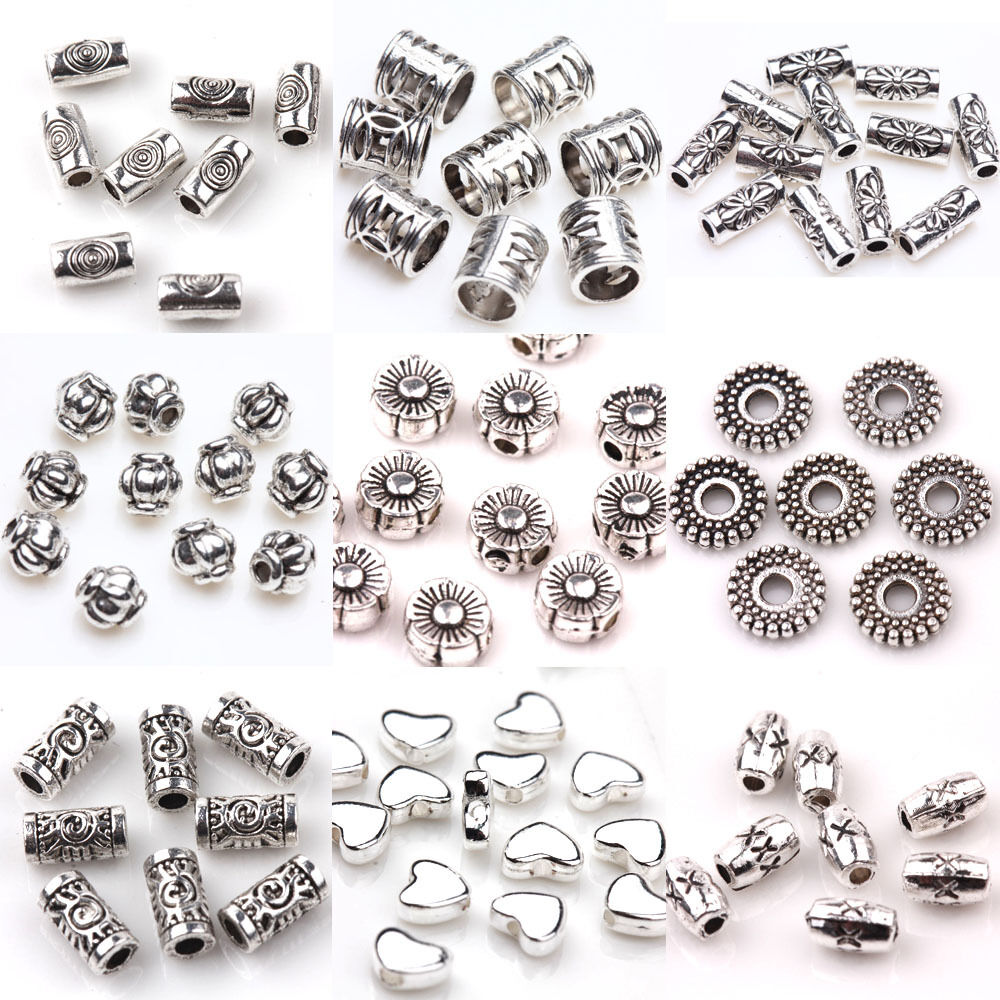 Hot Selling 50/100Pcs Silver Plated Charms Loose Spacer ...