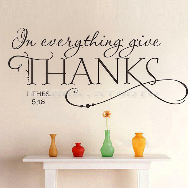 Words For The Wall Home Decor: In Everything Give THANKS Bible Quotes Words PVC Wall