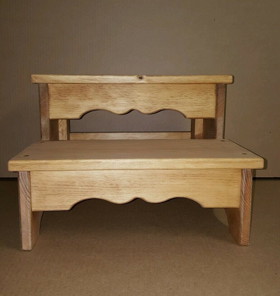 Stained Light Wide 2 Step Foot Stool Child S Bench Pine