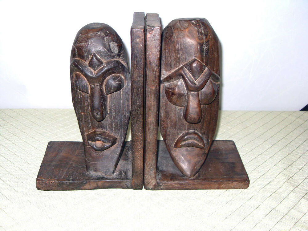 Vintage pair hand carved solid wood african dramatic face