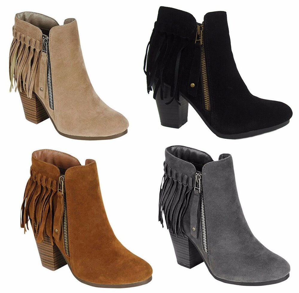 new womens suede fringe almond toe booties zipper chunky. Black Bedroom Furniture Sets. Home Design Ideas