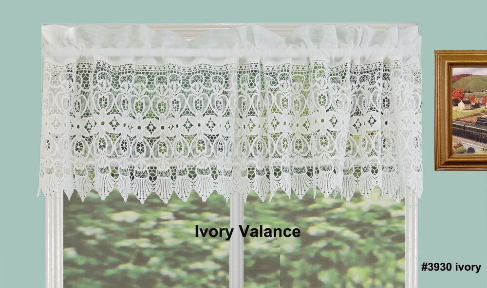 Creative Linens Knitted Lace Kitchen Curtain Valance Ivory