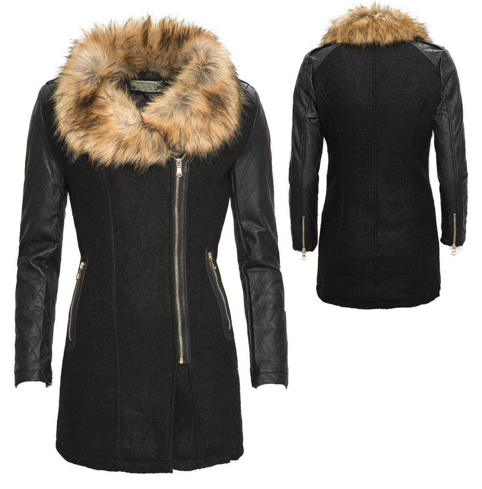 damen winter wollmantel jacke parka mantel kunstleder rmel fellkragen neu b337 ebay. Black Bedroom Furniture Sets. Home Design Ideas