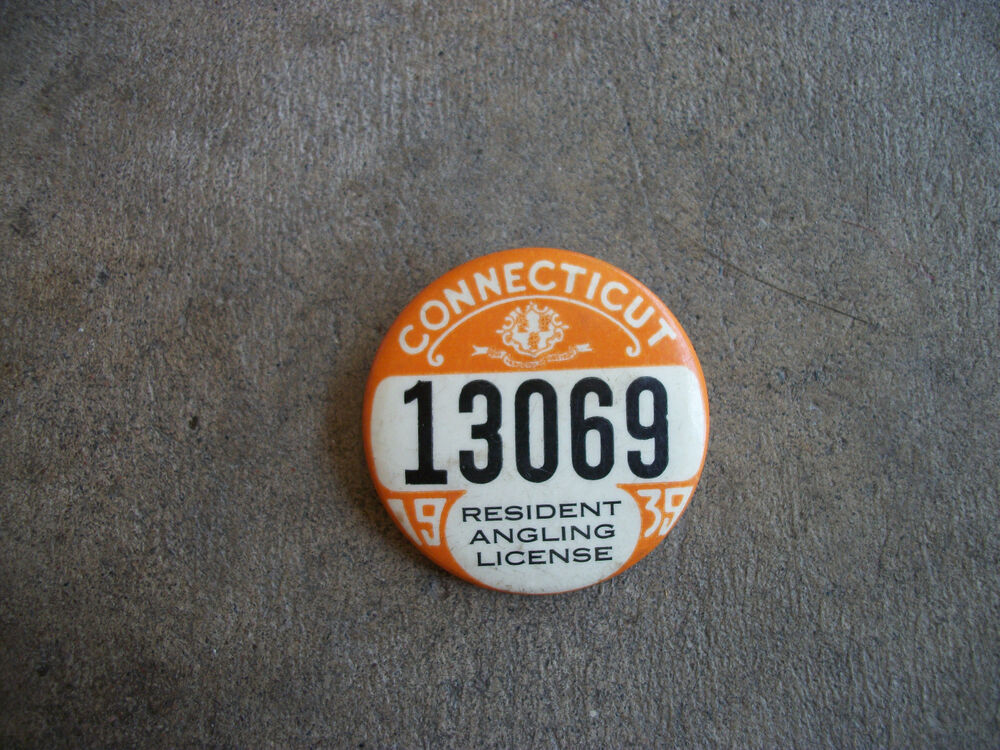 Vintage 1939 connecticut resident hunting license angling for Ct fishing license