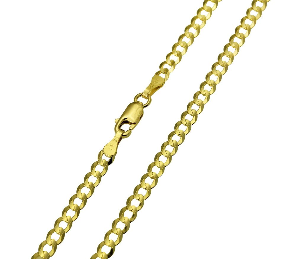 14k solid yellow gold cuban curb chain necklace 18. Black Bedroom Furniture Sets. Home Design Ideas