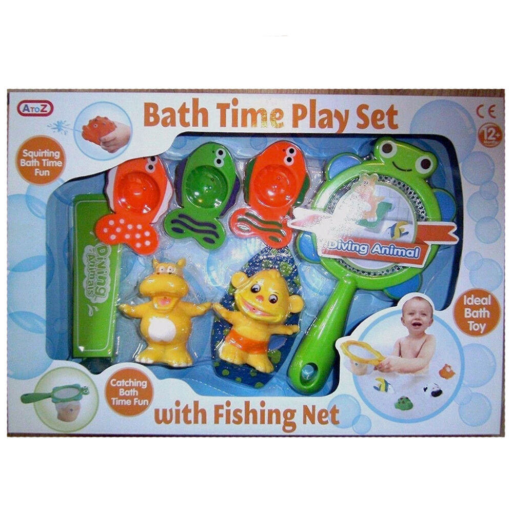 7pcs baby bath play catching fishing game floating animals with net catcher play ebay. Black Bedroom Furniture Sets. Home Design Ideas
