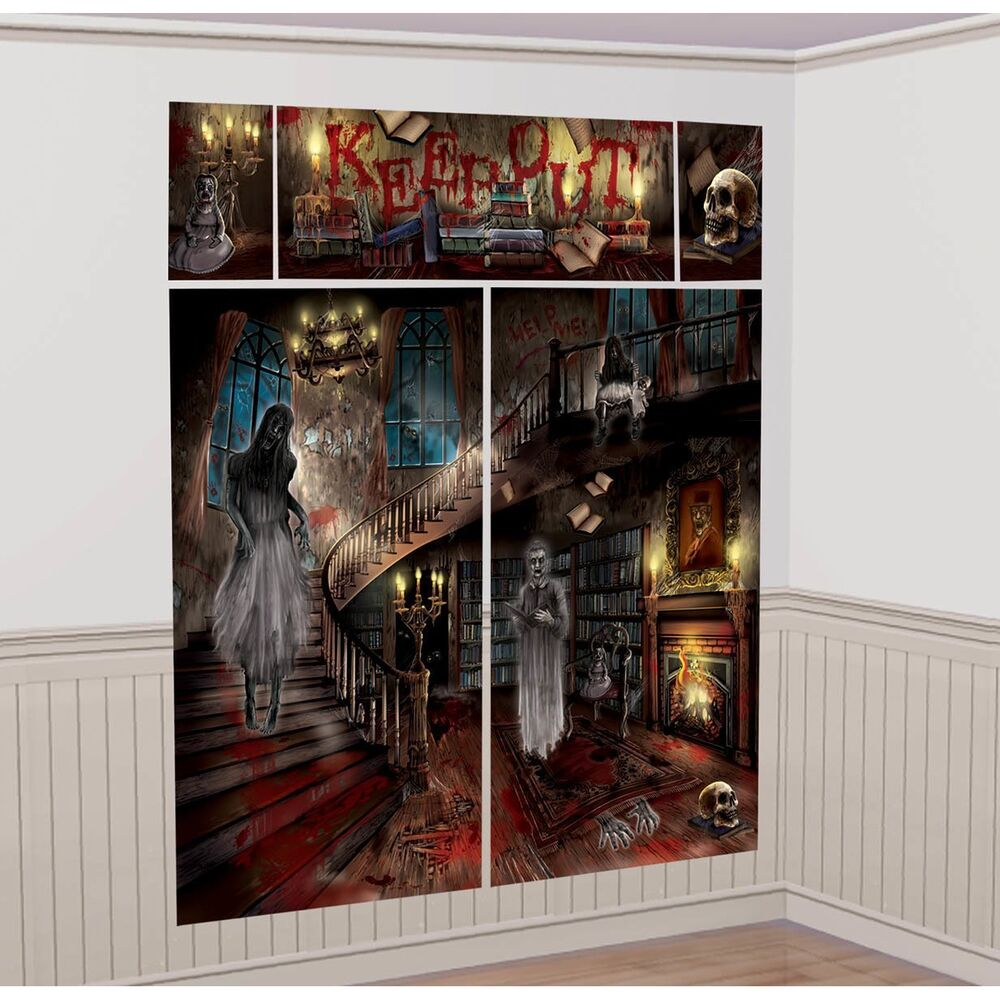 HAUNTED MANSION Scene Setter SCARY HOUSE Halloween Party ...